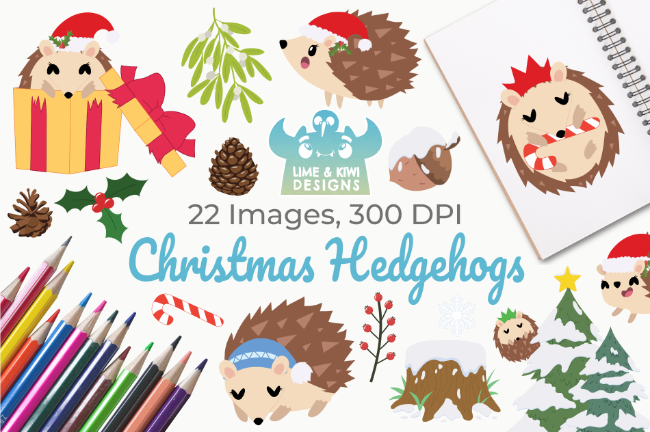 Christmas Hedgehogs Clipart Instant Download Vector Art By Lime