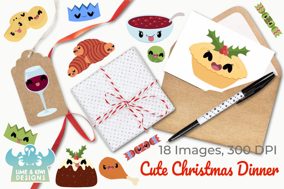 Cute Christmas Dinner Clipart Instant Download Vector Art By Lime