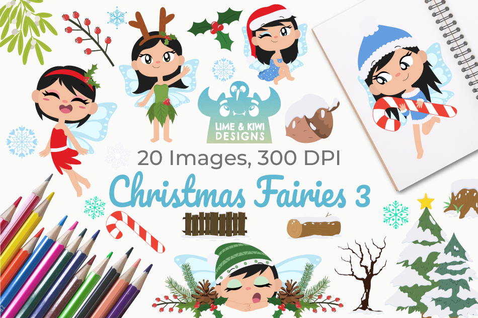 Christmas Fairies 3 Clipart Instant Download Vector Art By Lime