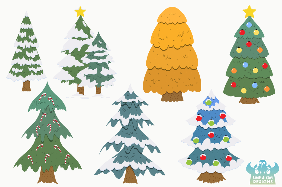 Christmas Trees Clipart Instant Download Vector Art By Lime And