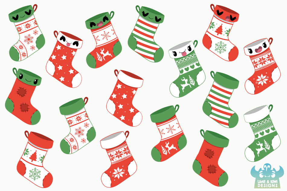 Christmas Stockings Clipart Instant Download Vector Art By Lime