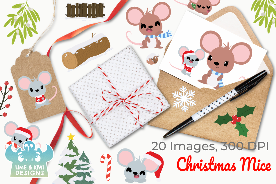 Christmas Mice Clipart Instant Download Vector Art By Lime And
