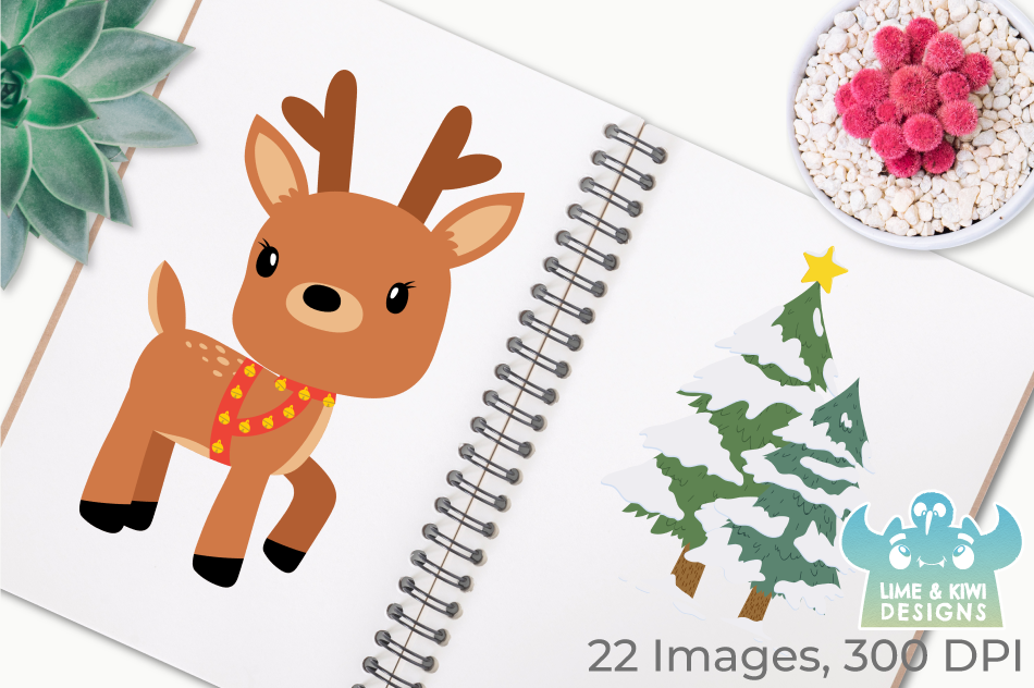 Christmas Reindeer Clipart Instant Download Vector Art By Lime