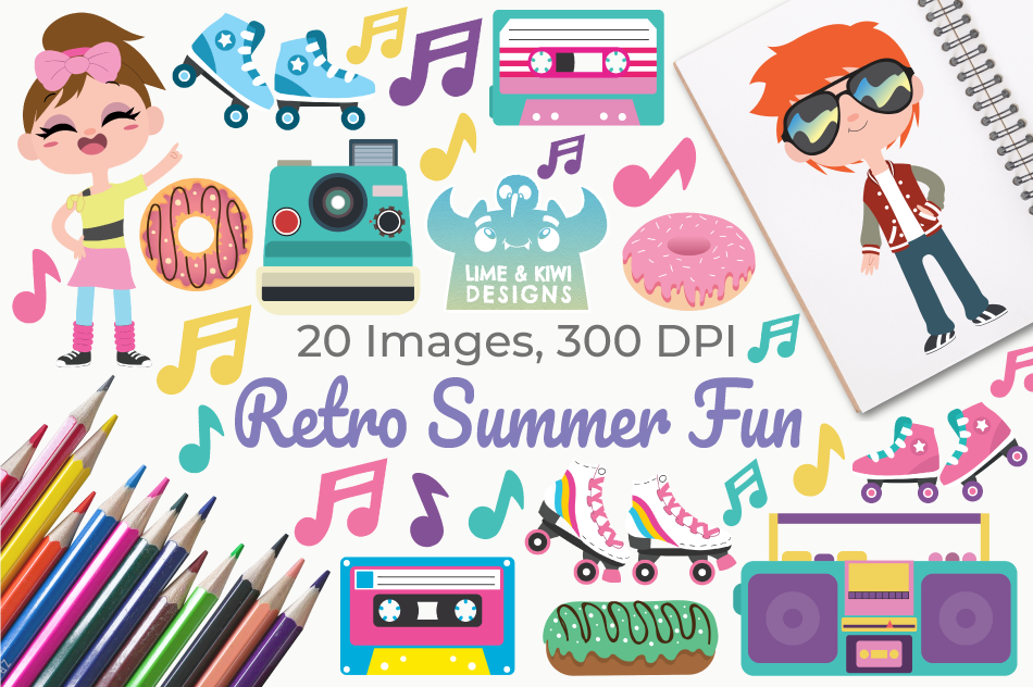 Retro Summer Fun Clipart Instant Download Vector Art By Lime And