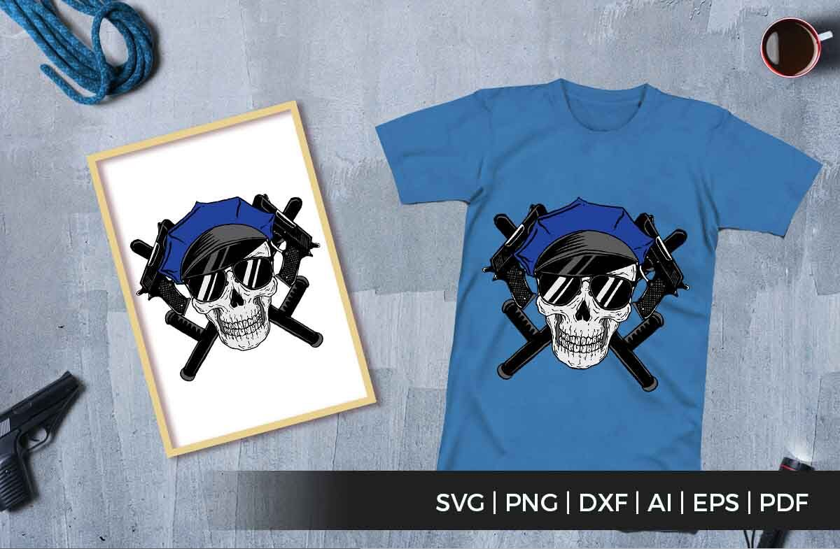 Skull Police And Gun Svg Vector Files By Cuttingsvg