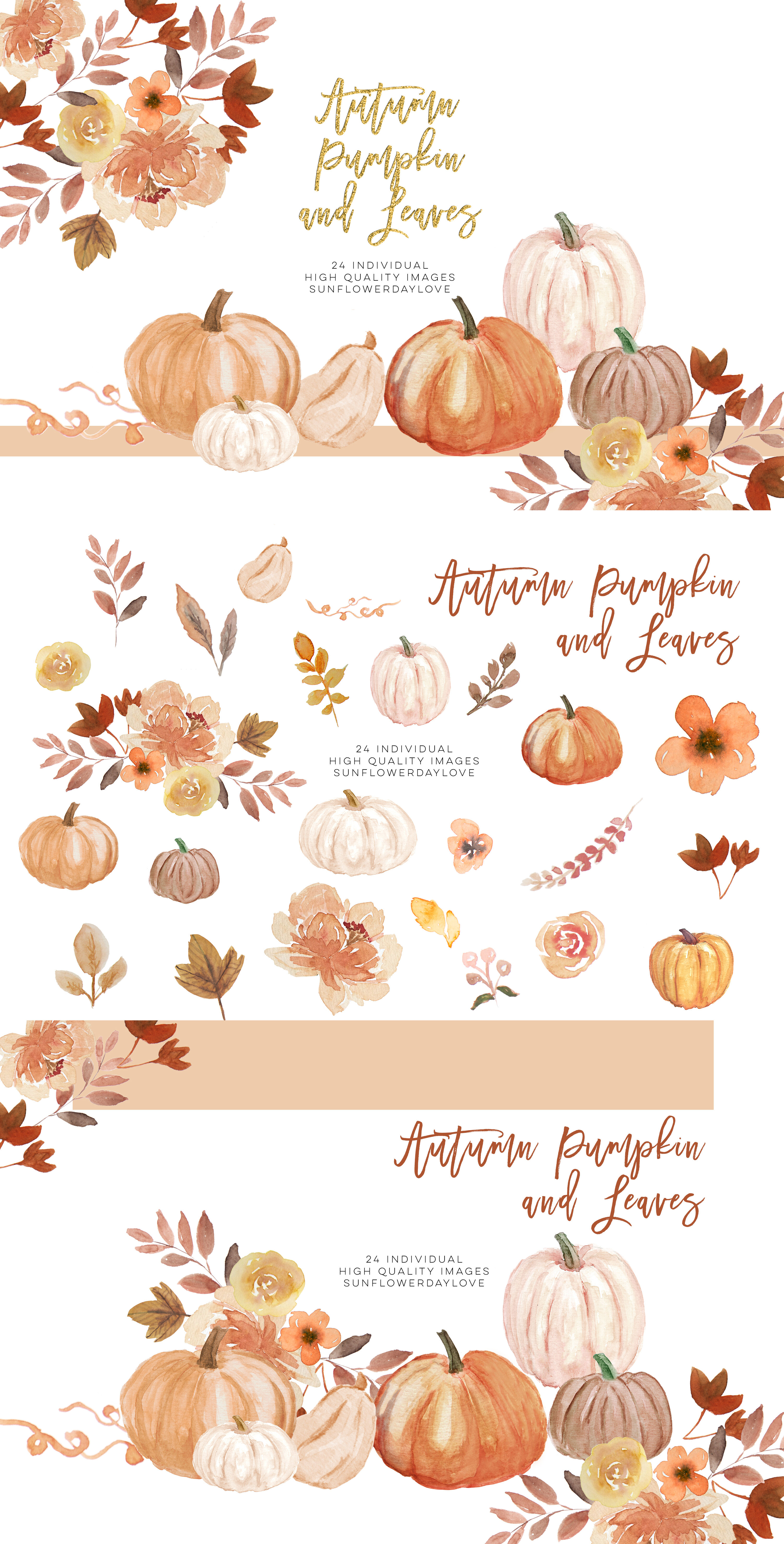 Fall Leaves clipart, Simple Fall Autumn Watercolor clipart ...