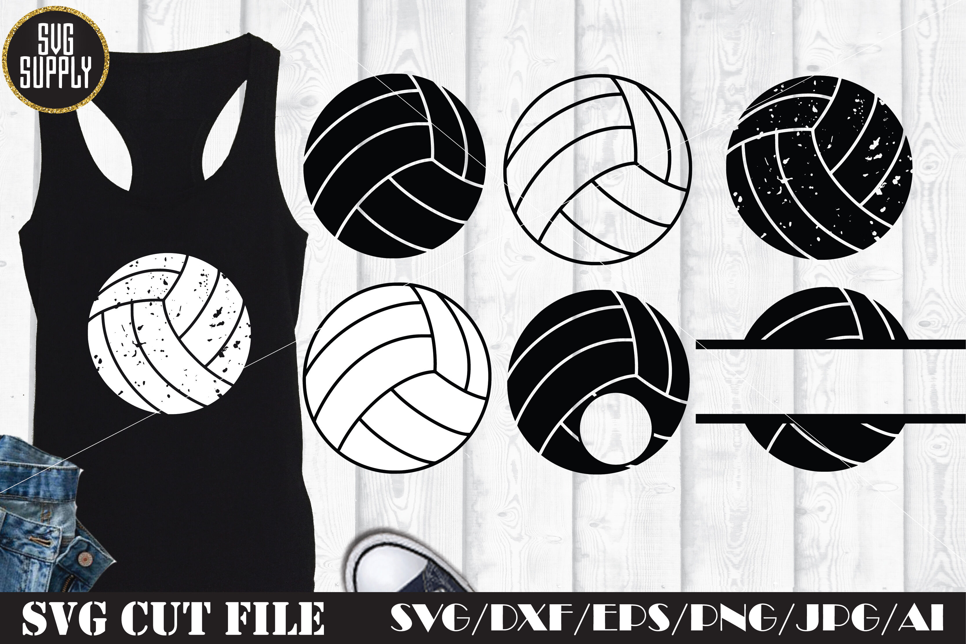 Volleyball Set Svg Cut File By Svgsupply Thehungryjpeg Com