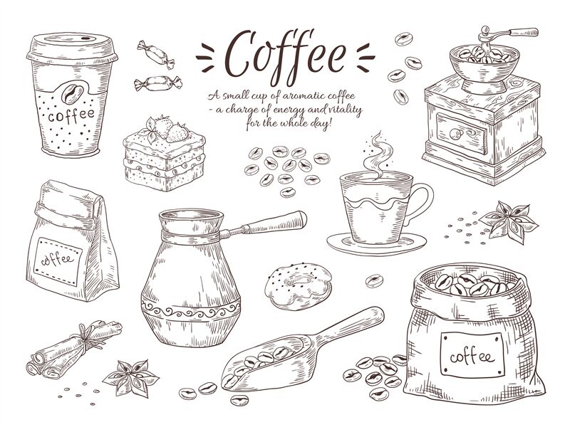 Hand Drawn Coffee Vintage Italian Drink With Breakfast Desserts