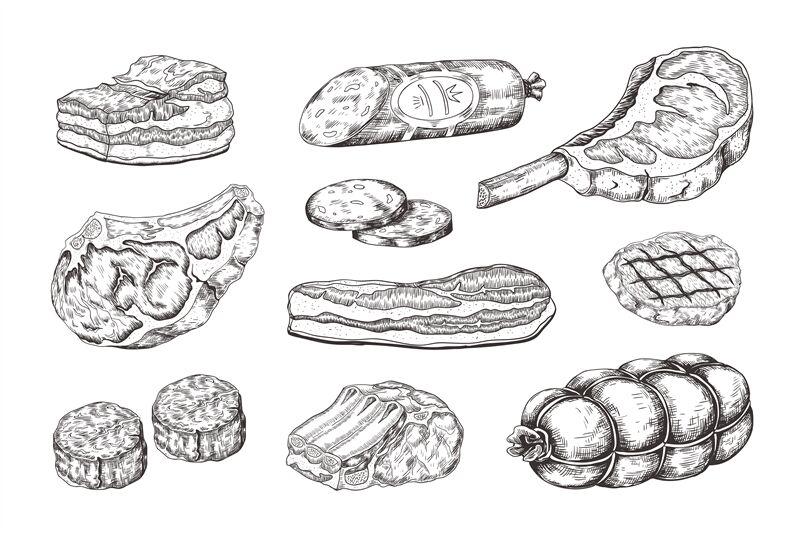 Meat Steak Vintage Food Sketch With Butchery Products Pork Ham