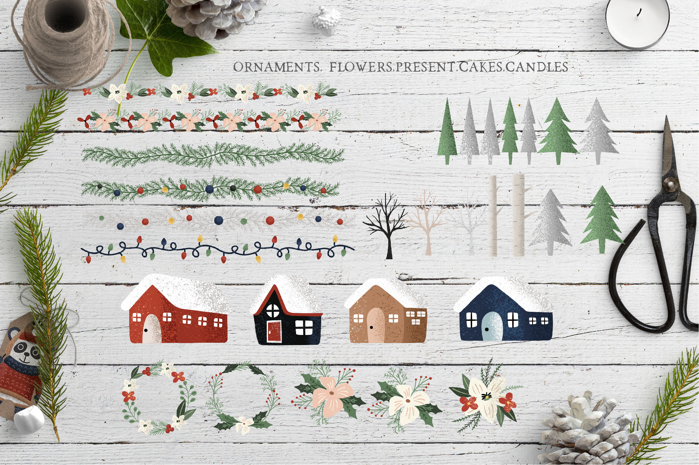 Christmas Things Clipart By Olyve Design Thehungryjpeg Com