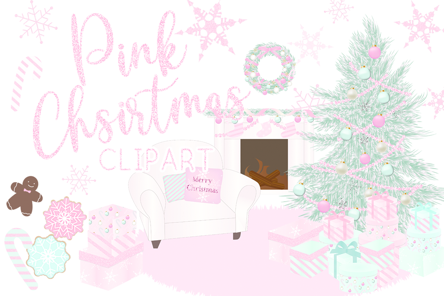 Pink Christmas Holiday Winter Clipart By Lilynekodesignstudio