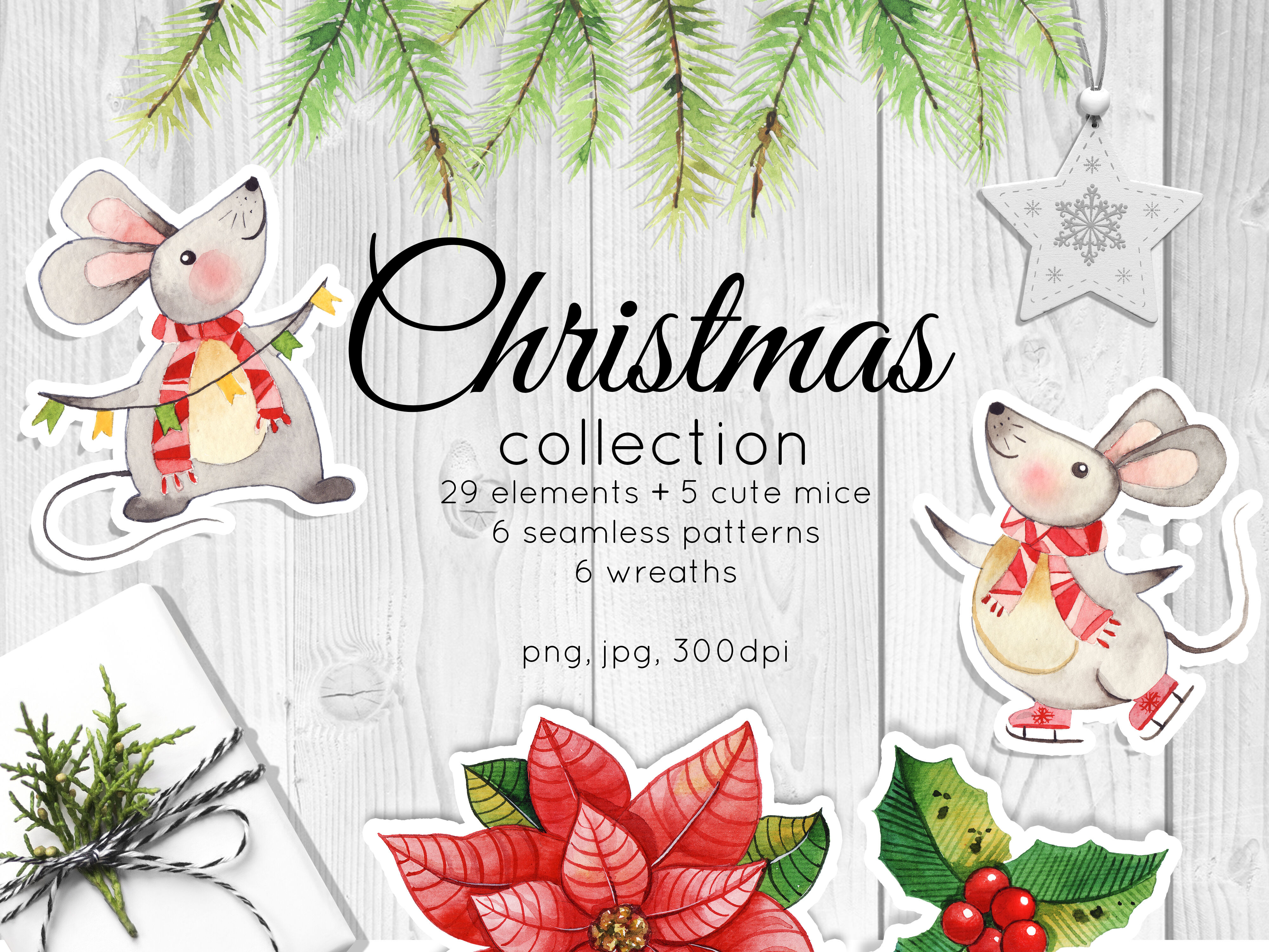 Christmas Collection Watercolor Decor And Cute Cartoon Mice By