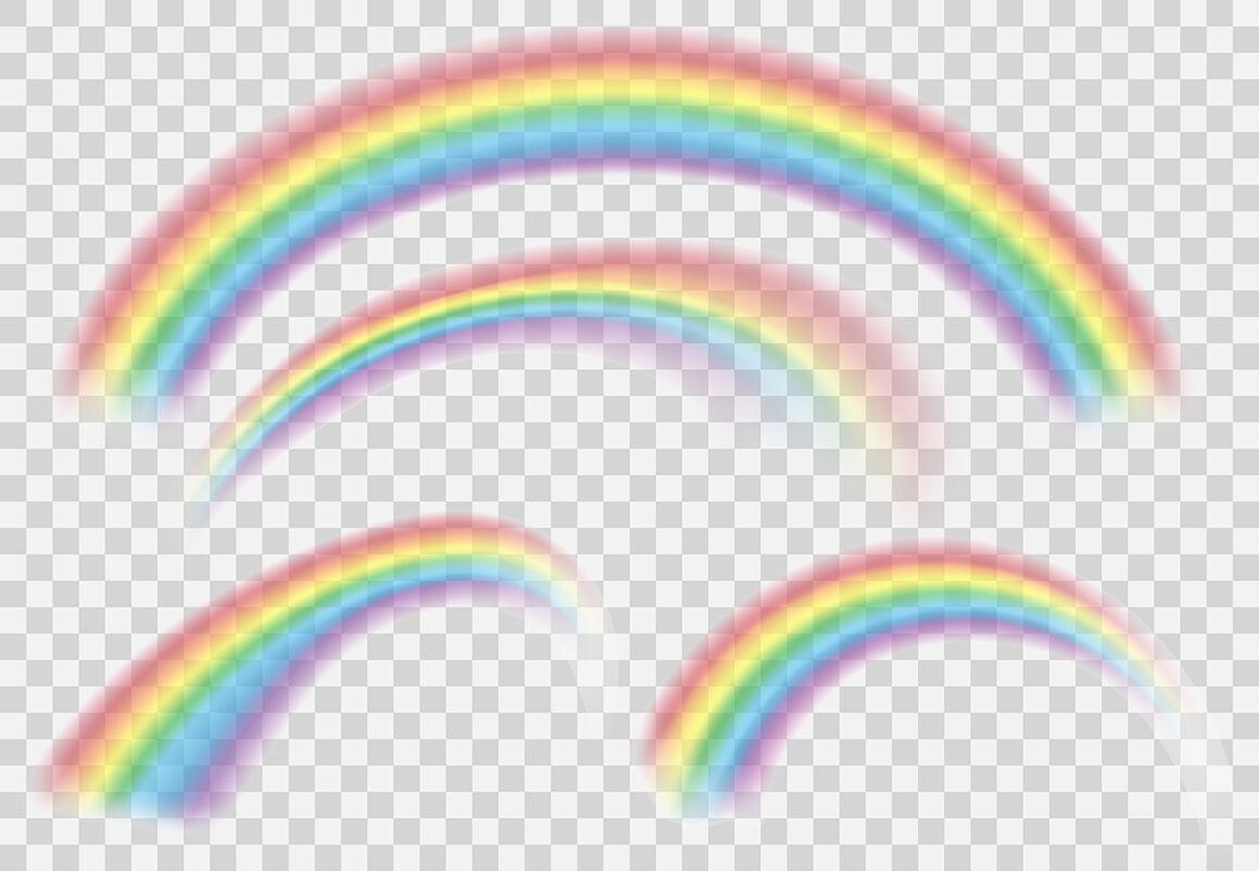 Shine Rainbow Set Vector Rainbows Isolated On Transparent