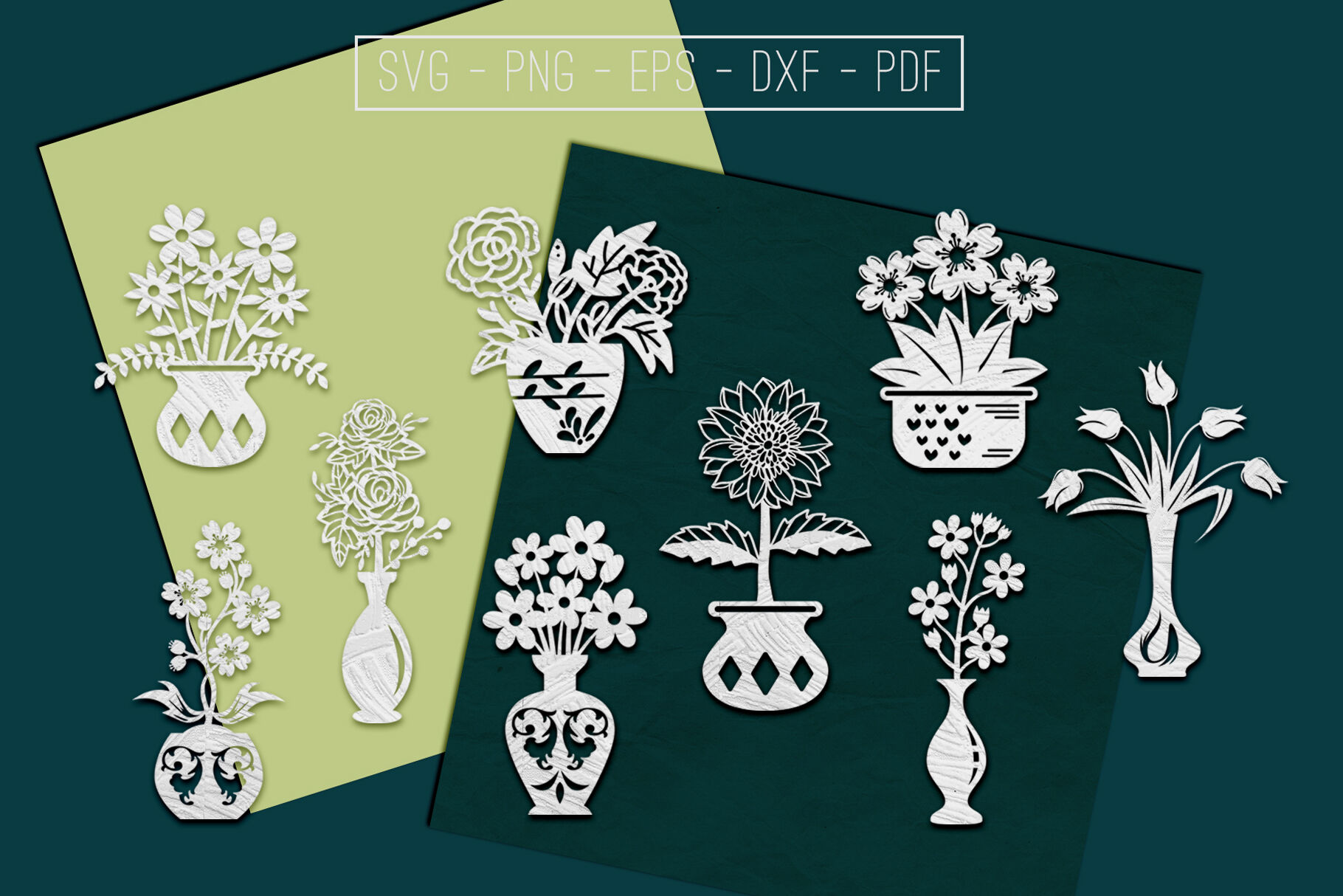 Flower In Vase Papercut Templates Bundle Laser Vector Svg By