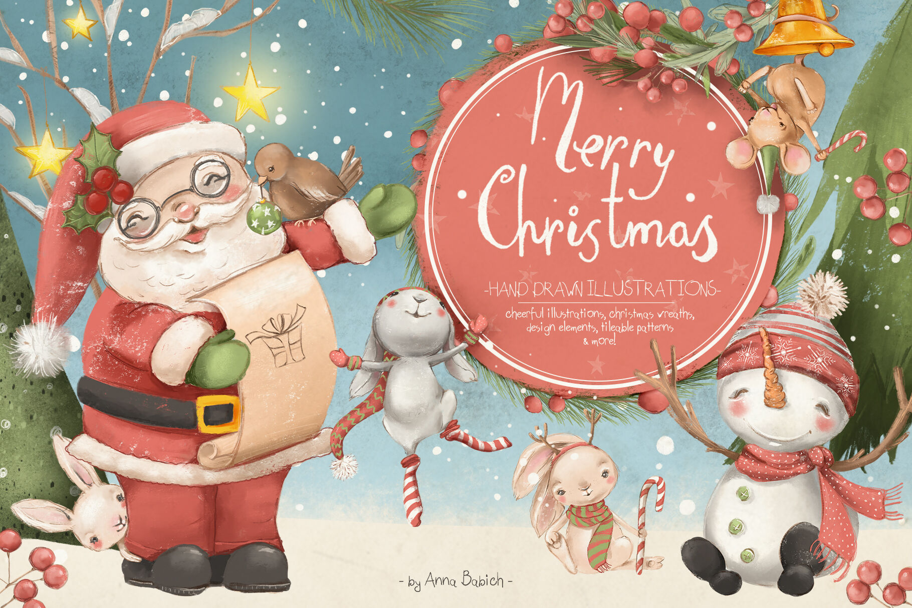 Merry Christmas By Anna S Creations Thehungryjpeg Com