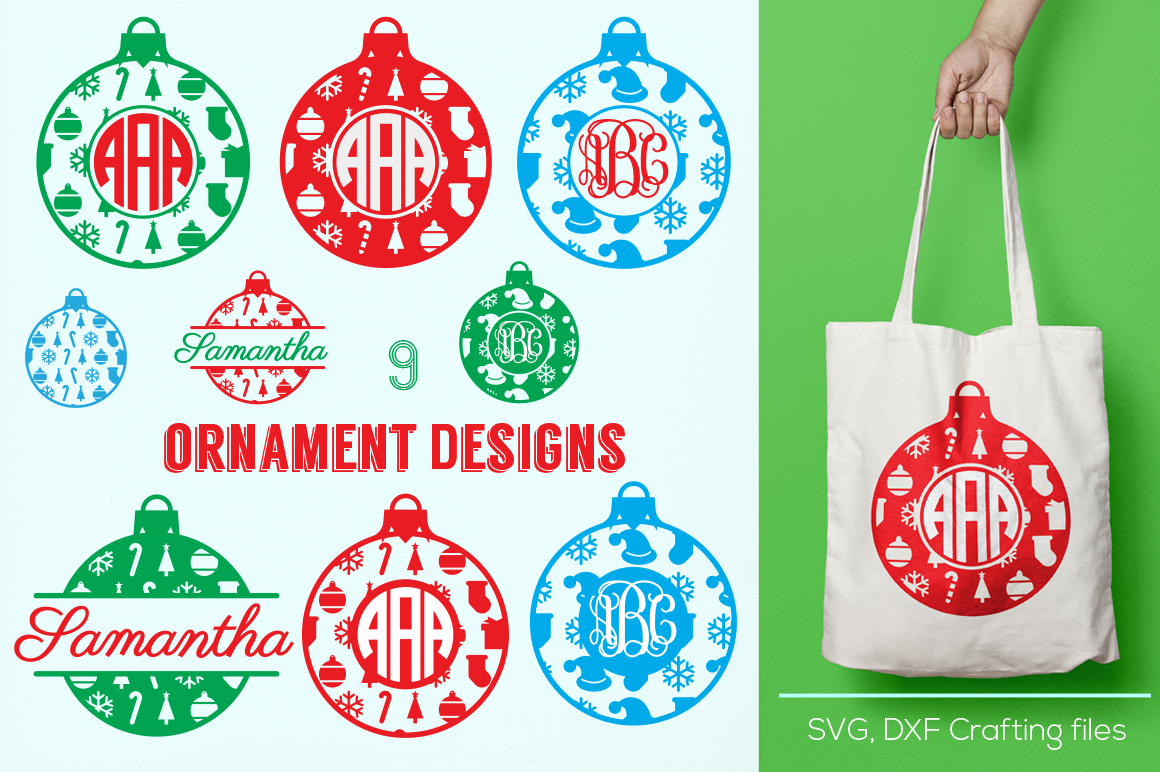 Christmas Ornament Monogram Frames Svg Cricut Ornaments Svg