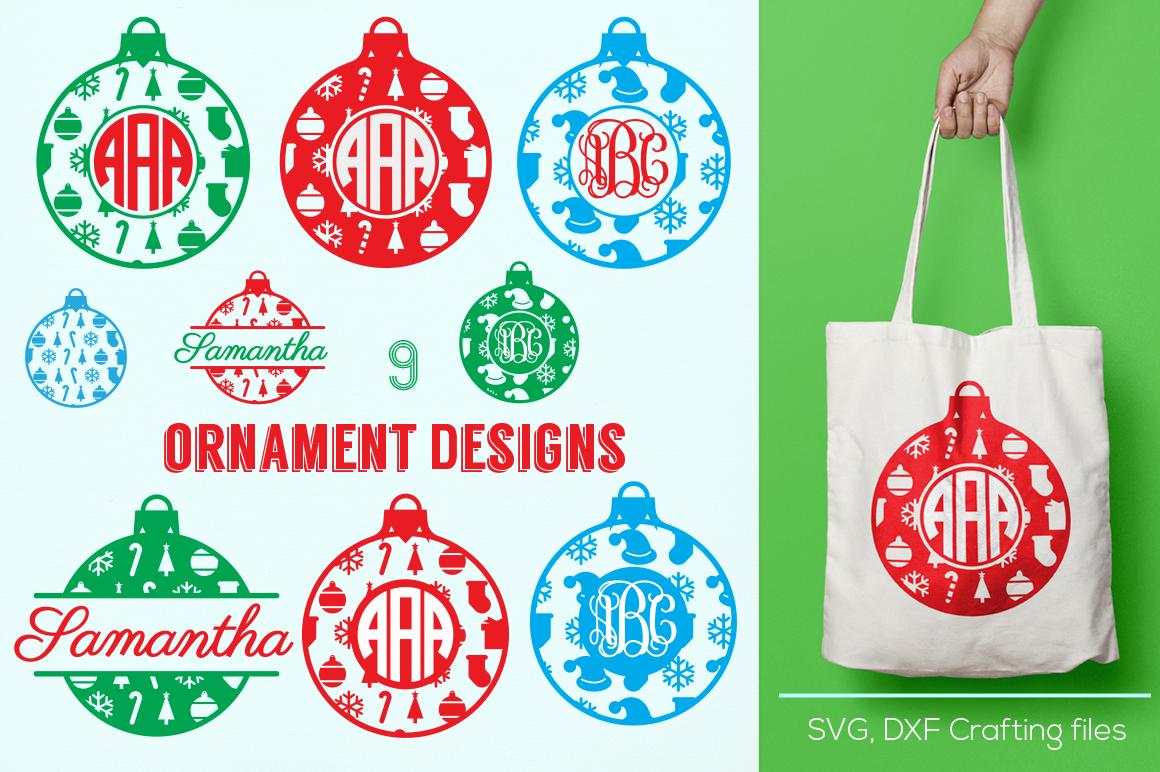 Christmas Ornament Monogram Frames Svg Cricut Ornaments