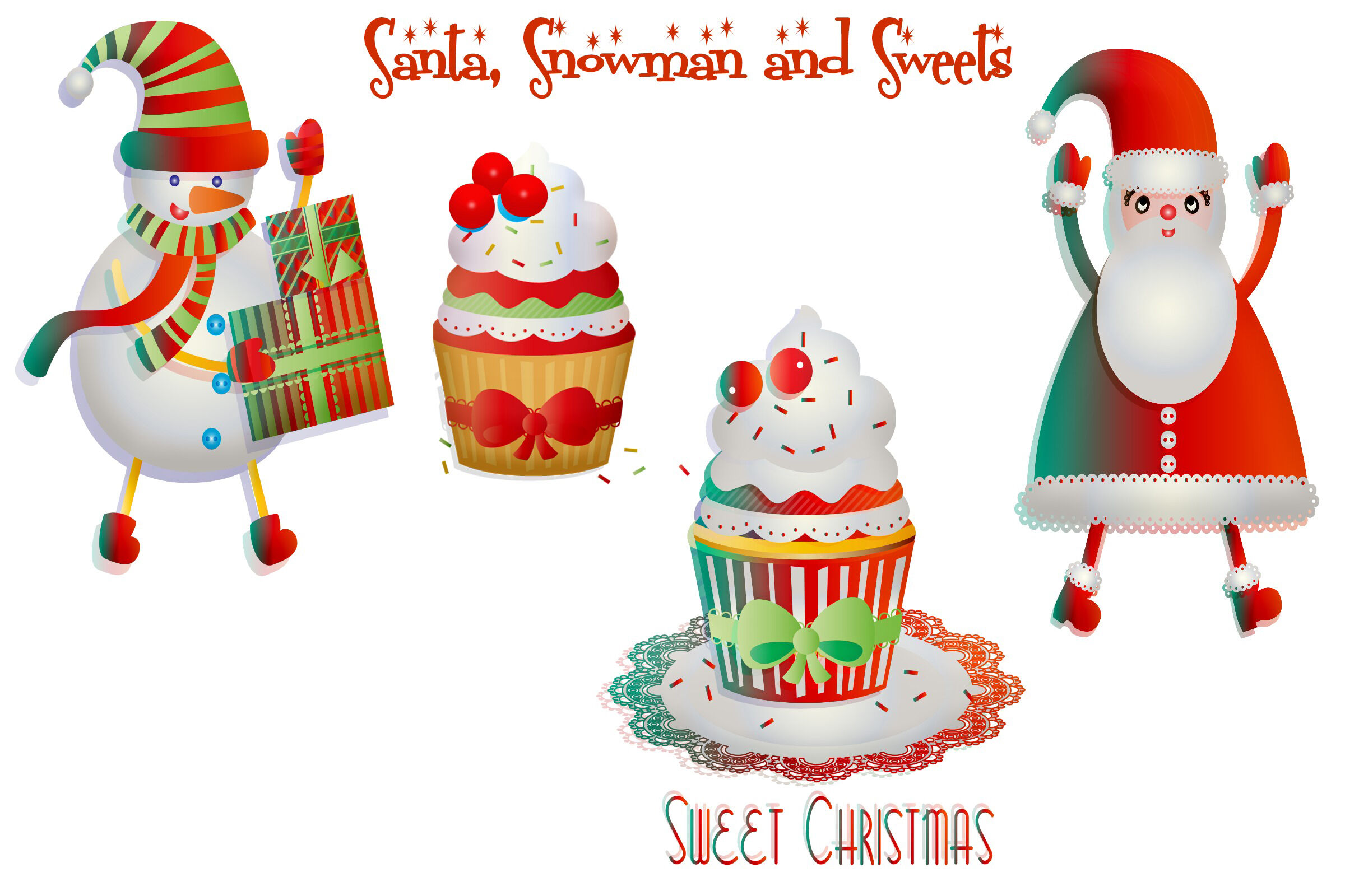 Christmas Bright Colors Clip Art By Me And Amelie Thehungryjpeg Com