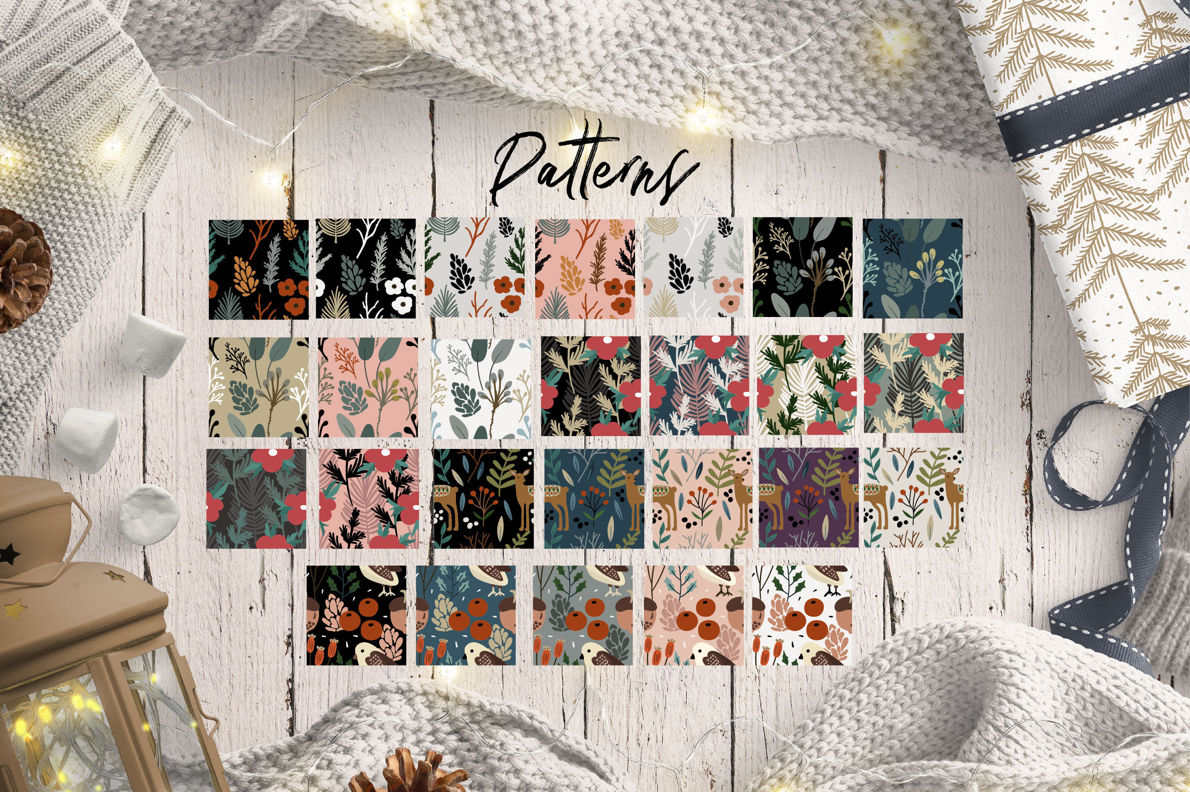 Christmas Pattern Vol 1 By Olyve Design Thehungryjpeg Com