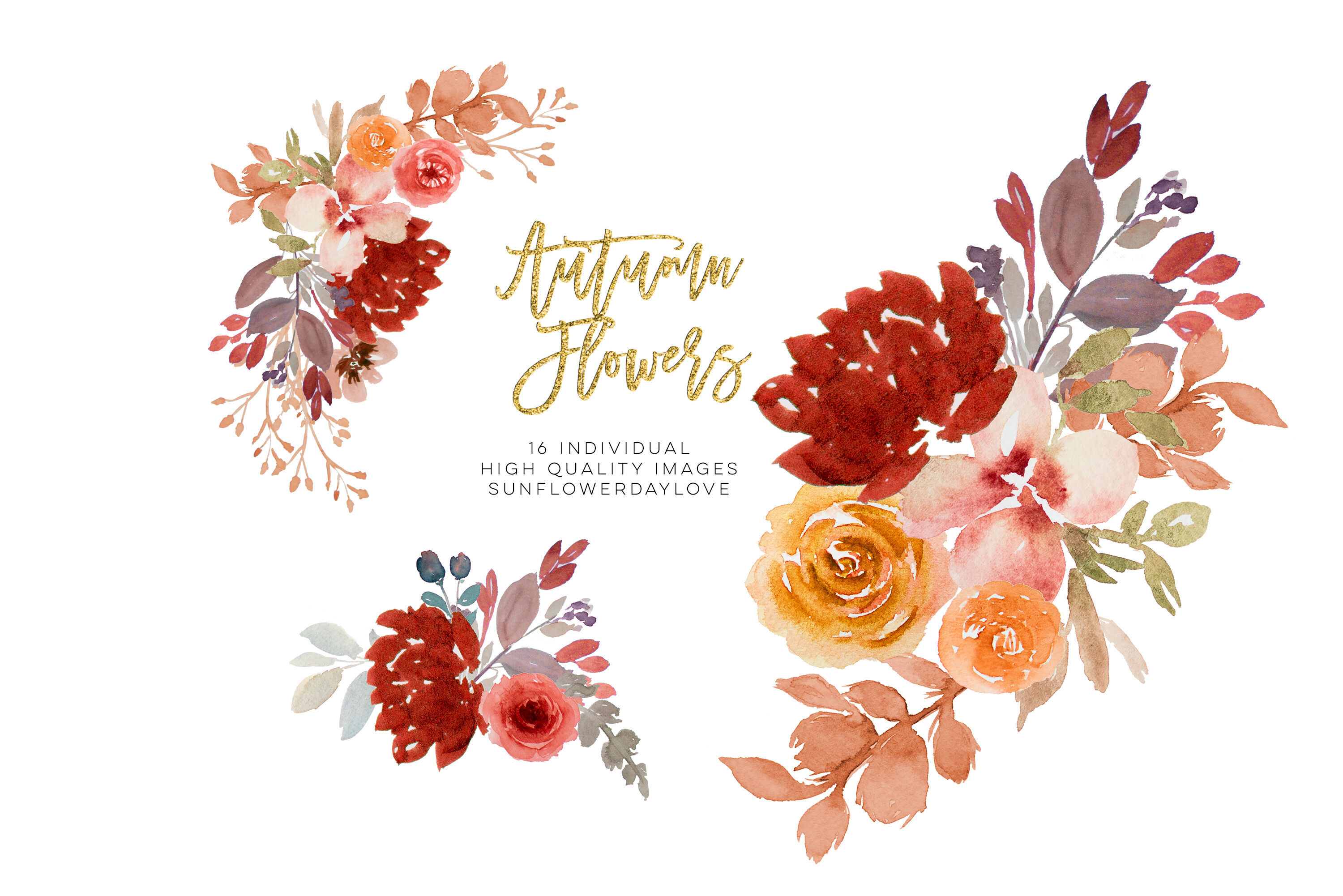 Burgundy Autumn Floral Watercolor Clipart By Sunflower Day Love