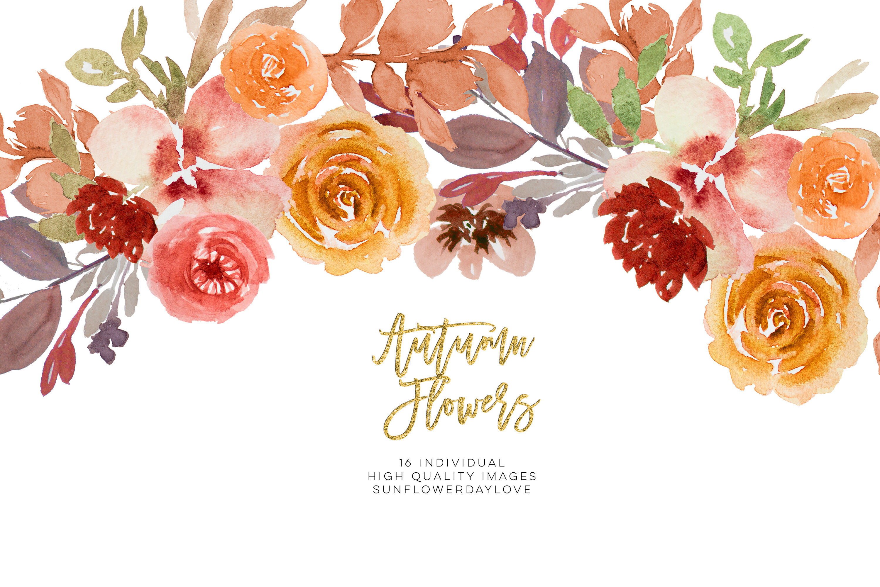 Burgundy Autumn Floral Watercolor Clipart By Sunflower Day ...