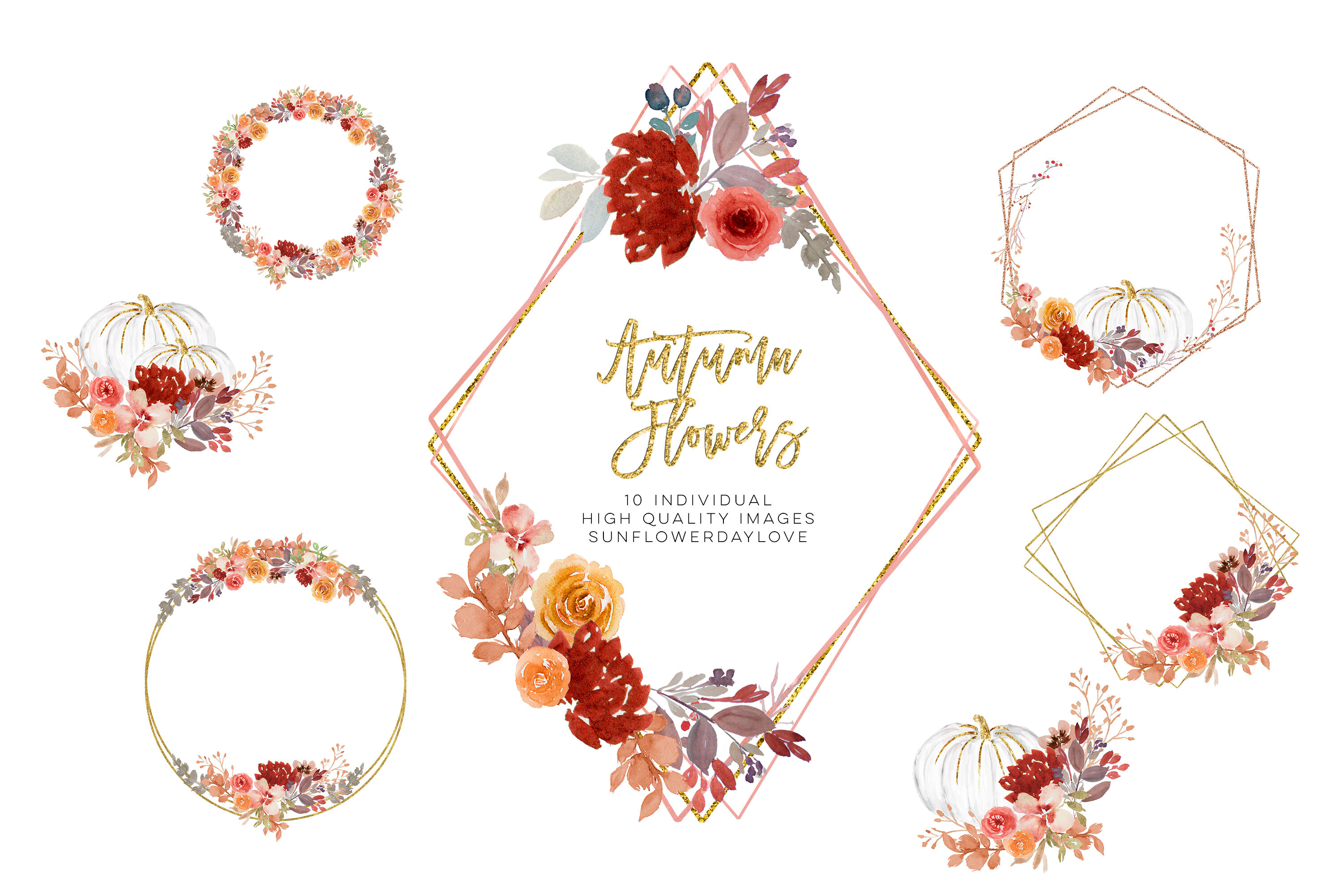 Fall Autumn Wreath Floral Watercolor Clipart Flower Wreath