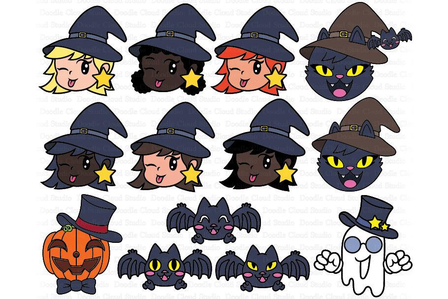 Cute Halloween Clipart Svg Pumpkin Ghost Cat Witch Bat By Doodle Cloud Studio Thehungryjpeg Com
