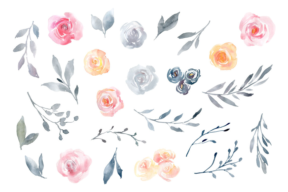 Watercolor Flowers Dusty Pink Blue Yellow By Watercolorflowers Thehungryjpeg Com