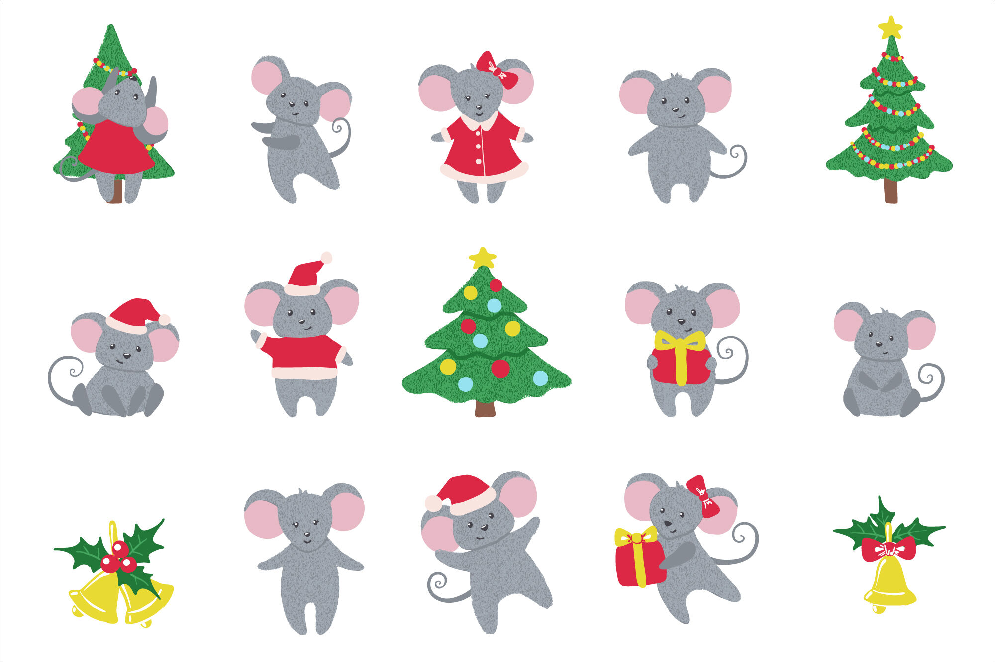 Set Of Cute Hand Drawn Mice And New Year Symbols By Romawka