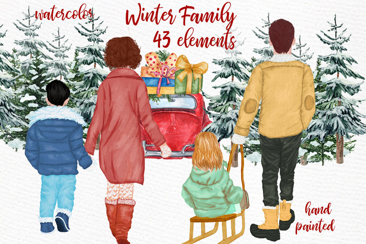 Winter Family Christmas Clipart Christmas Car Pine Tree Png By