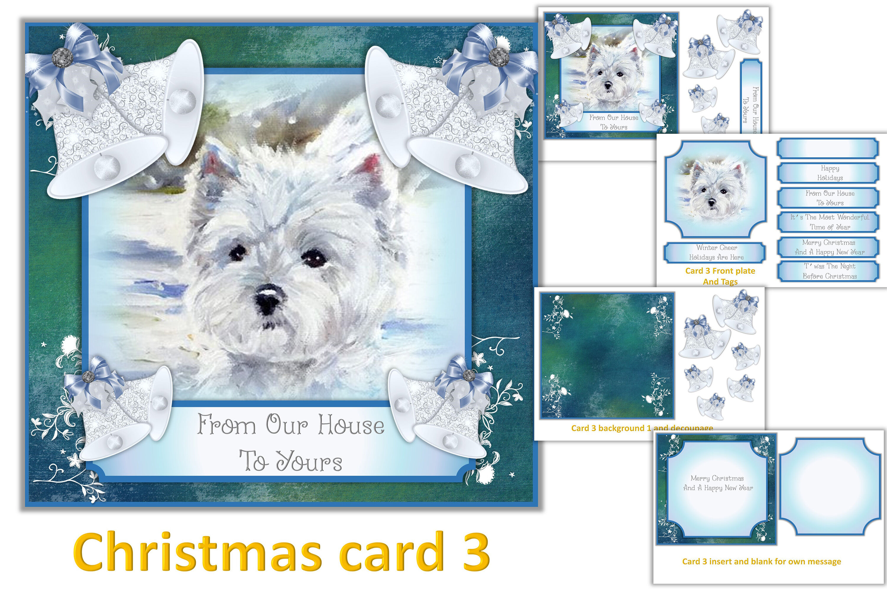 Christmas Card Making Kit Printable And With Free Clipart By The
