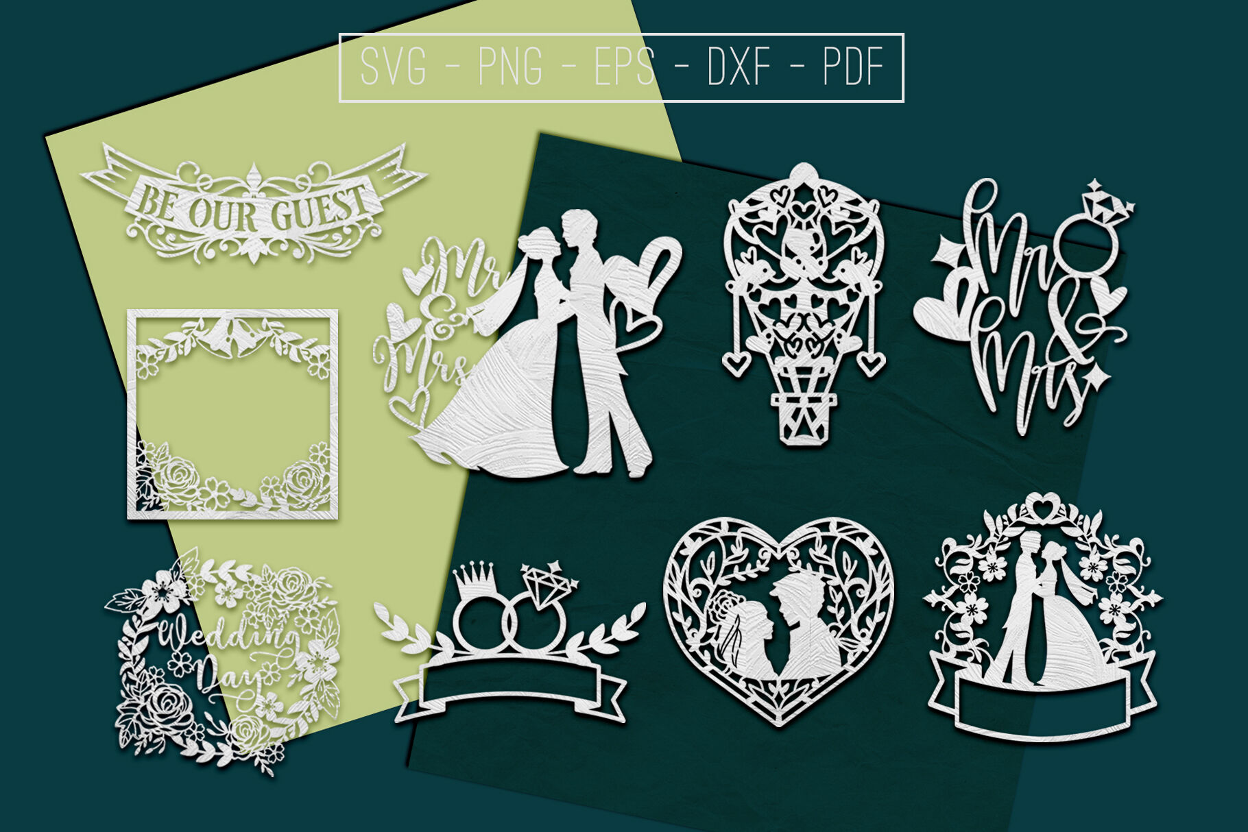 Wedding Paper Cut Templates Bundle Marriage Sign Svg Dxf By Mulia Designs Thehungryjpeg Com
