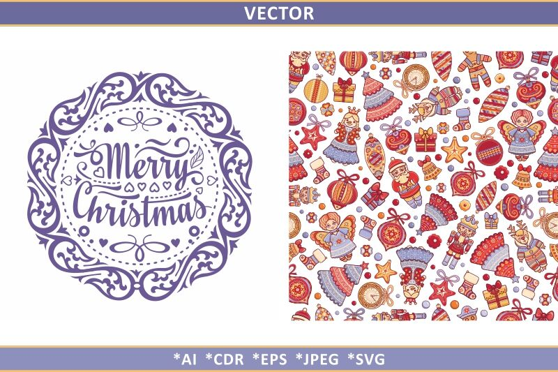 Christmas Seamless Pattern And Lettering Greeting Card By Zoya