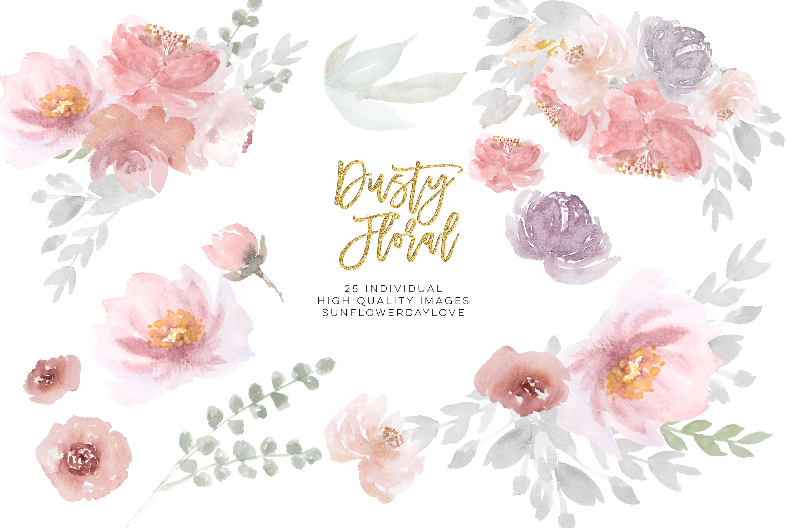 Dusty Rose Floral Clipart Wedding Invitation Clip Art Dusty