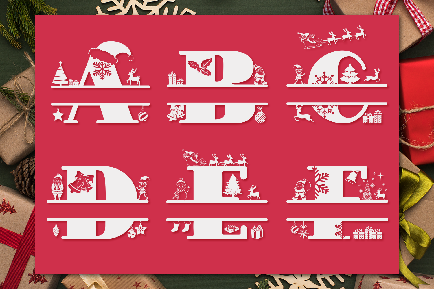 Christmas Monogram Font Christmas Split Font By Anastasia Feya