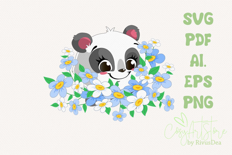 Panda Svg Download Bouquet Flowers Panda Png Chamomile Cute