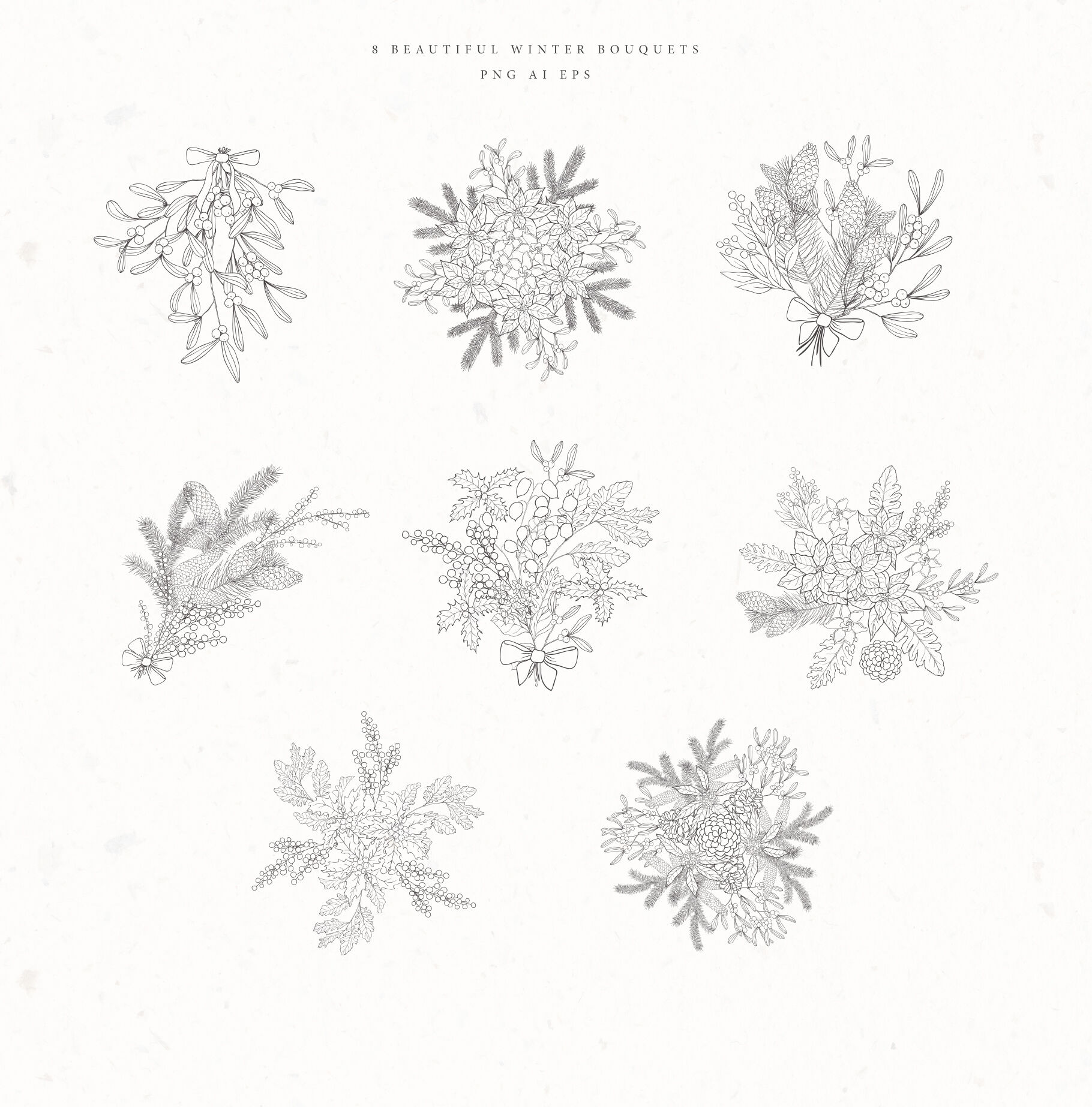 Christmas Time Winter Bouquets By Designwork Thehungryjpeg Com