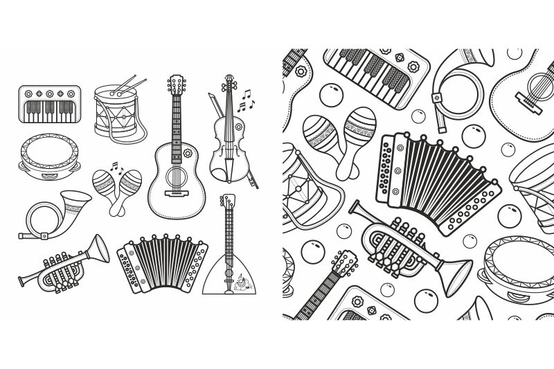 Cute Cartoon Musical Instruments. Coloring Book. By Zoya Miller  TheHungryJPEG.com