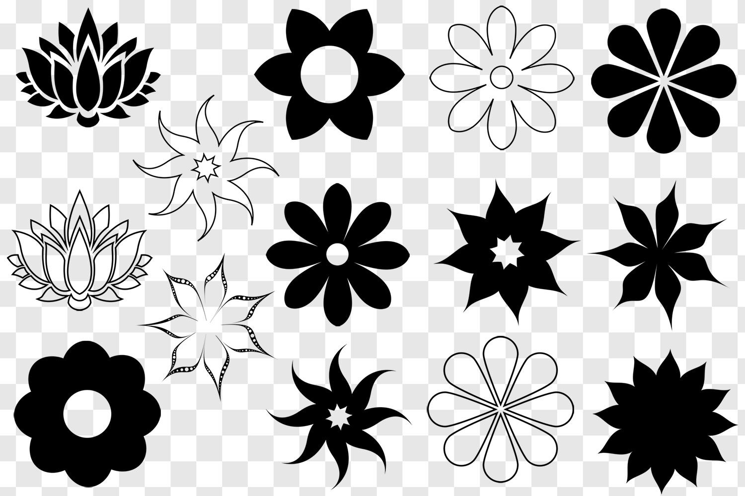 Flower Svg Bundle Flower Clip Art Flower Silhouette Cut Files
