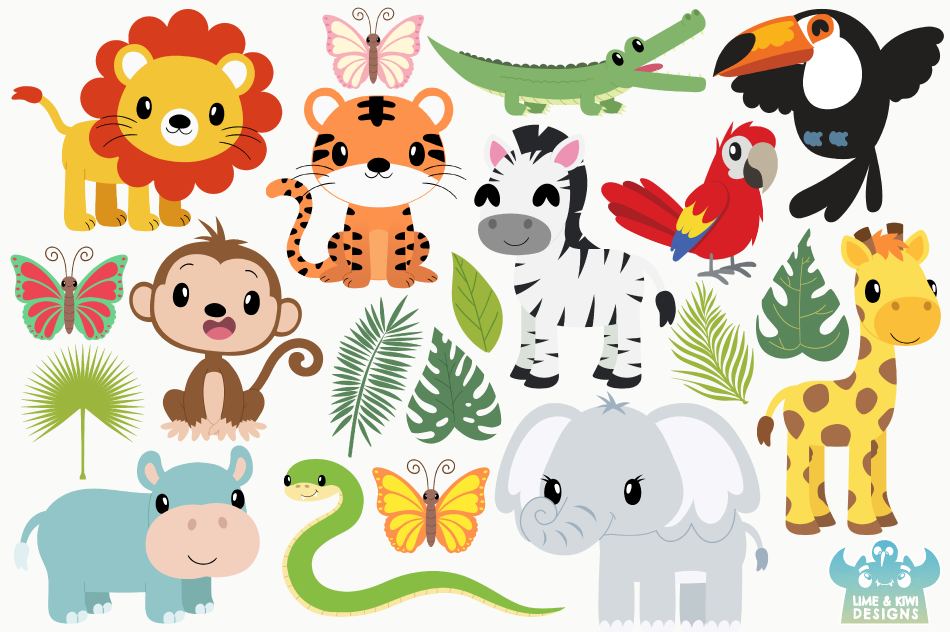 Jungle Animals Clipart, Instant Download Vector Art By ...