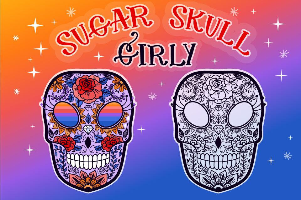 Sugar Skull Girly Svg Cut File By Tatiana Cociorva Designs