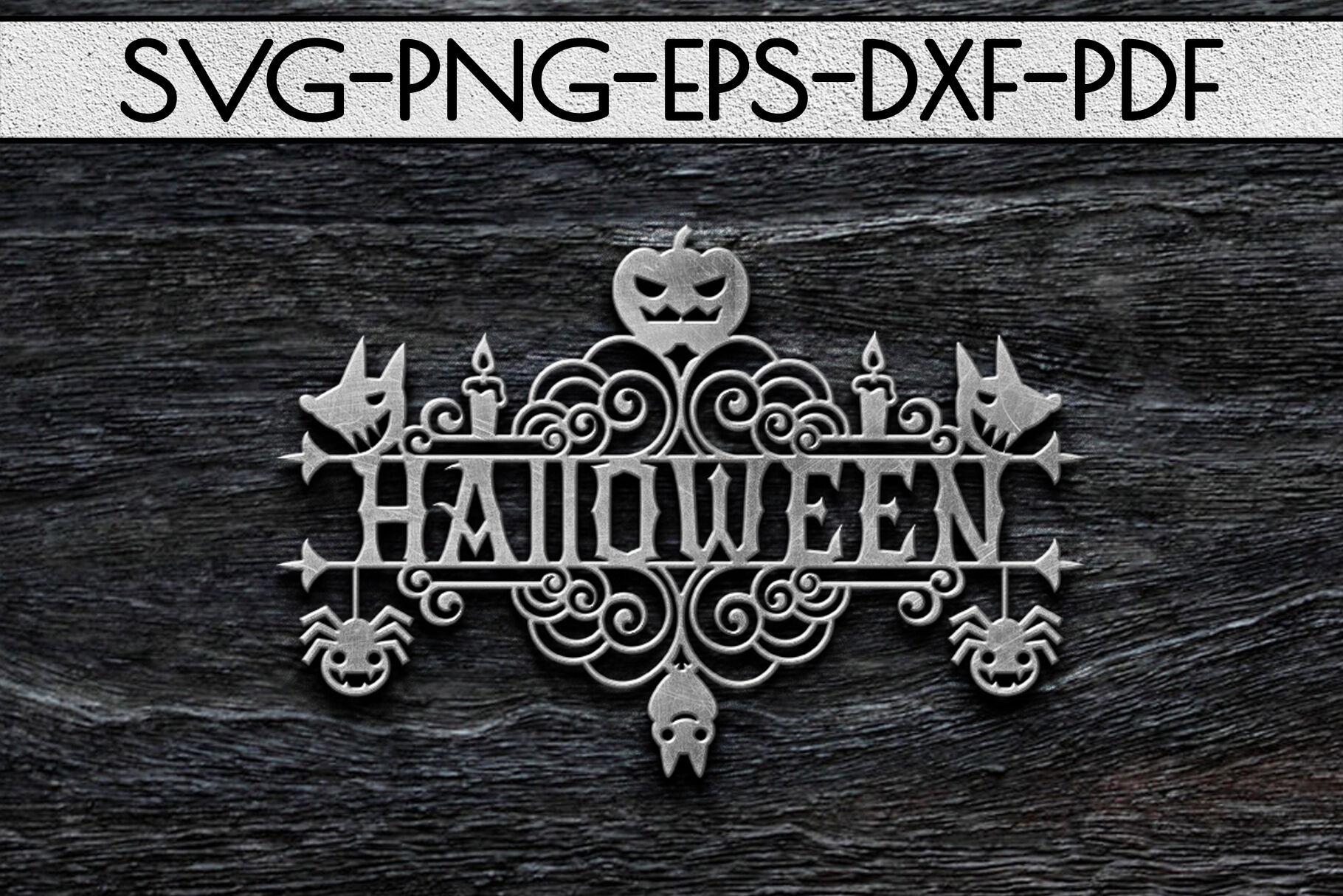 Halloween Sign Design Papercut Template Spooky Svg Pdf By Mulia