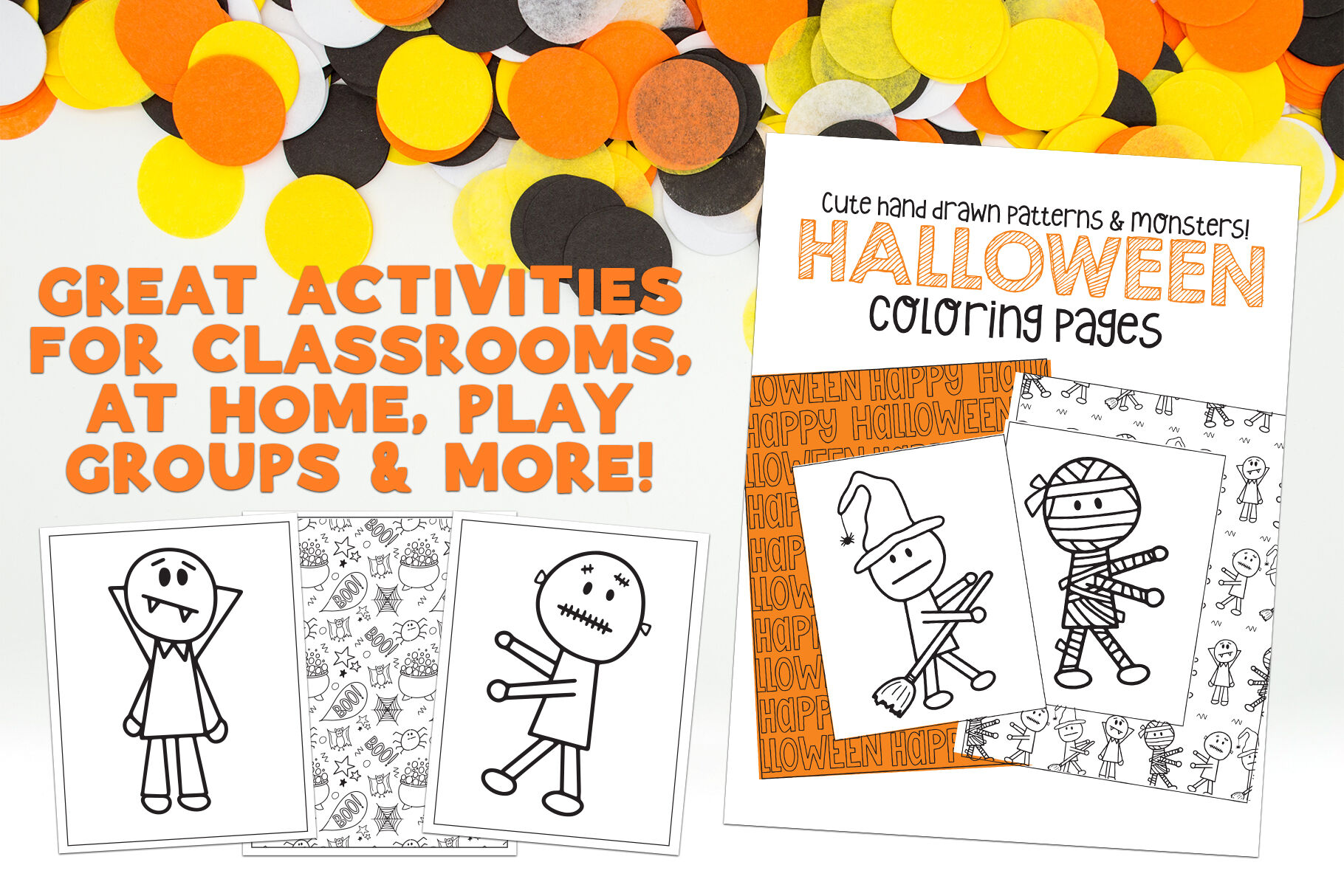 Halloween Coloring Pages Monster Activity By Dansie Design