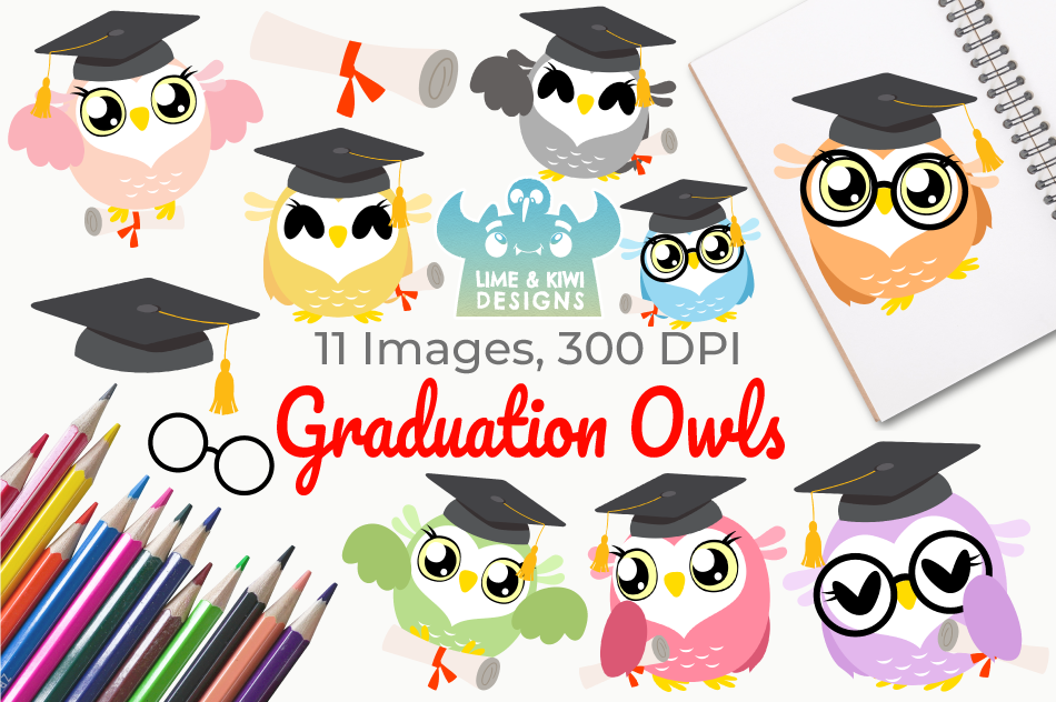 Graduation Owls Clipart Instant Download Vector Art By Lime And
