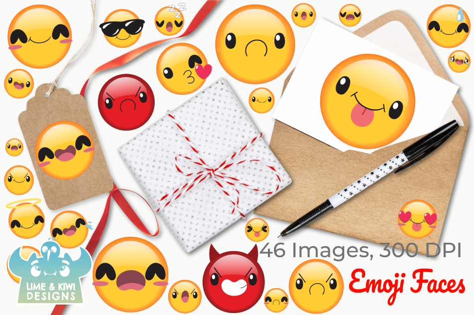Emoji Faces Clipart Instant Download Vector Art By Lime And Kiwi