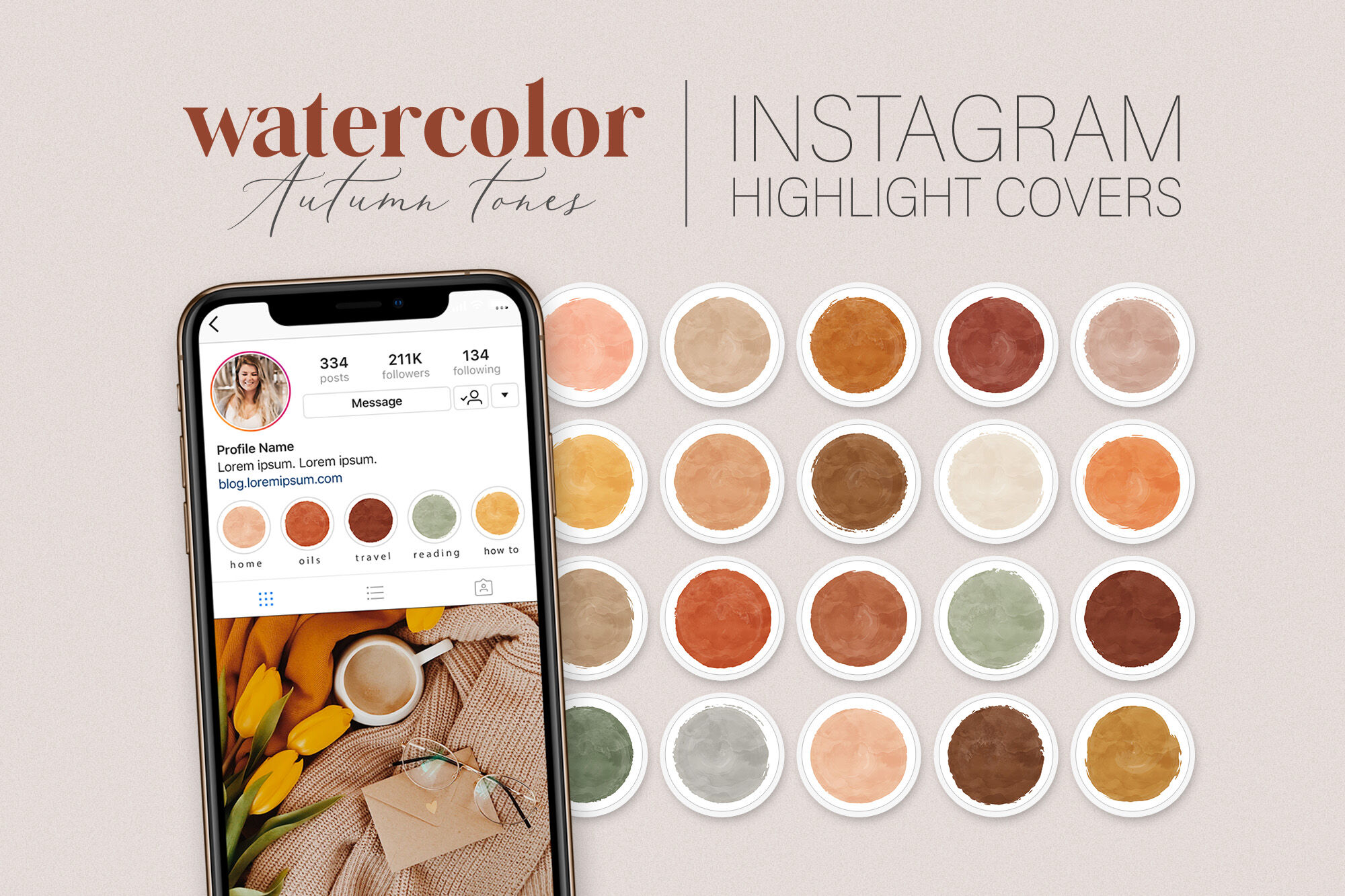 Autumn Watercolor Instagram Highlight Covers Watercolor Circles By Indie Grace Thehungryjpeg Com