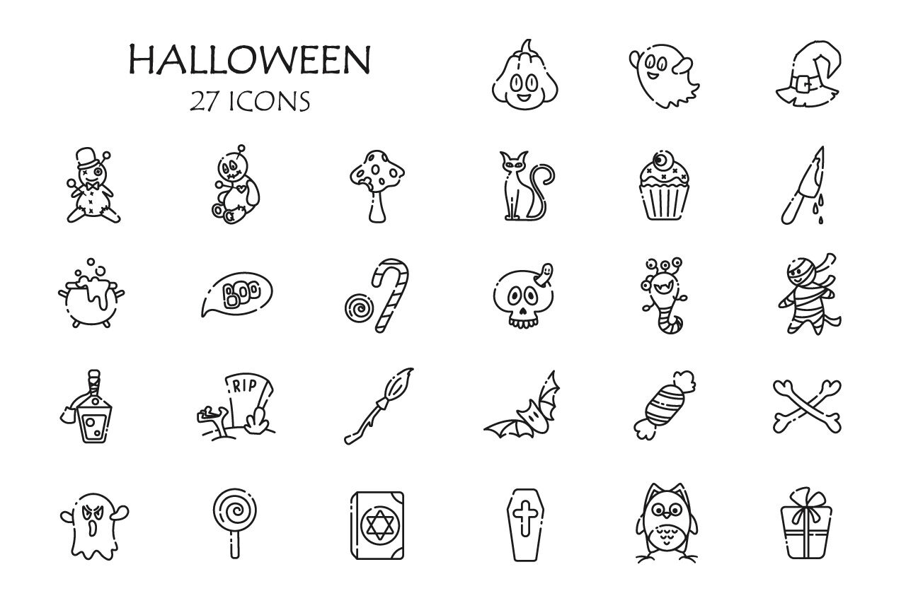 Cute Halloween Icons By Watercolor Arts Thehungryjpeg Com