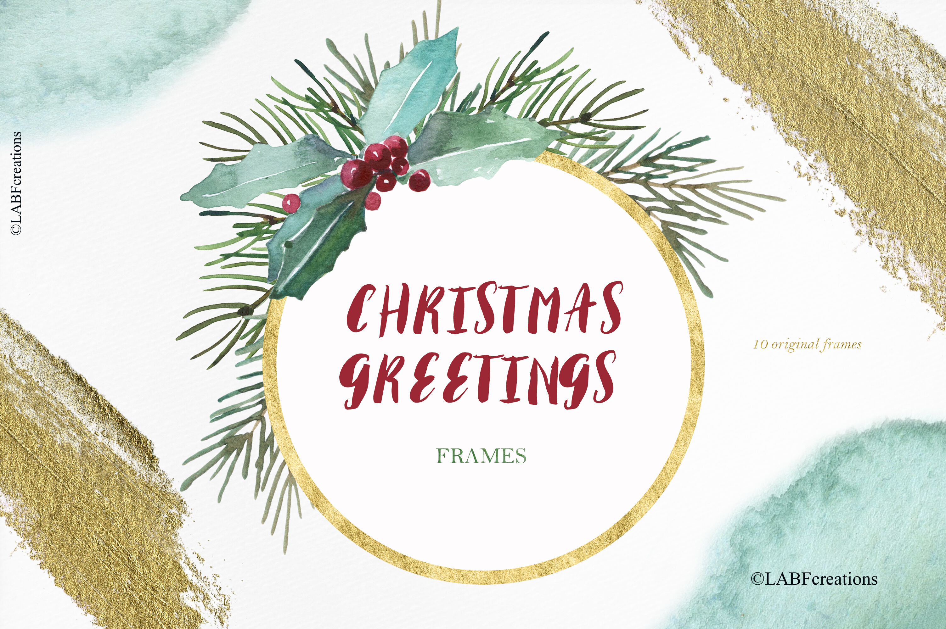Christmas Greetings Watercolor Clipart By Labfcreations