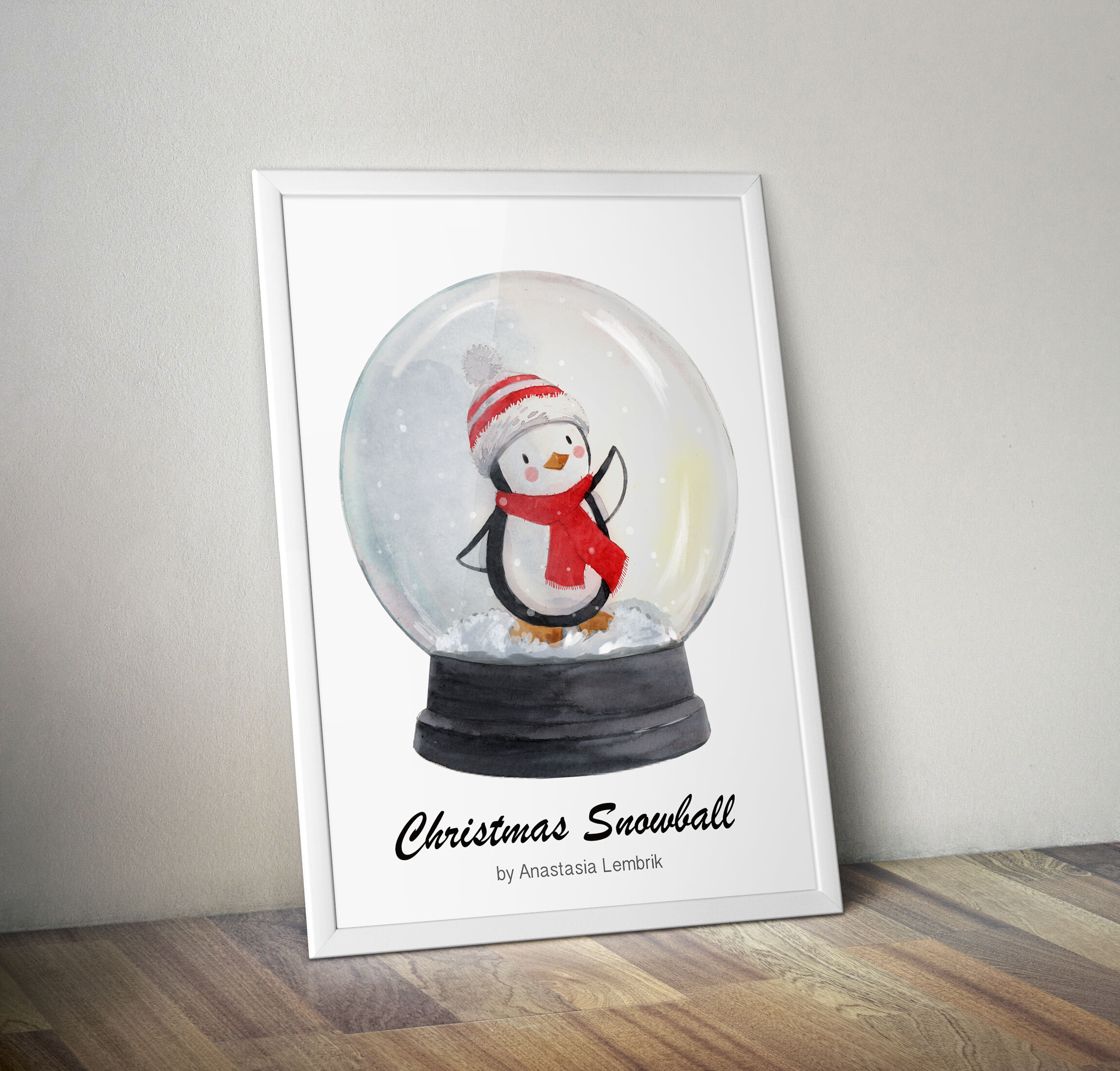 Christmas Snow Globe With Cute Penguin Watercolor Isolated Print