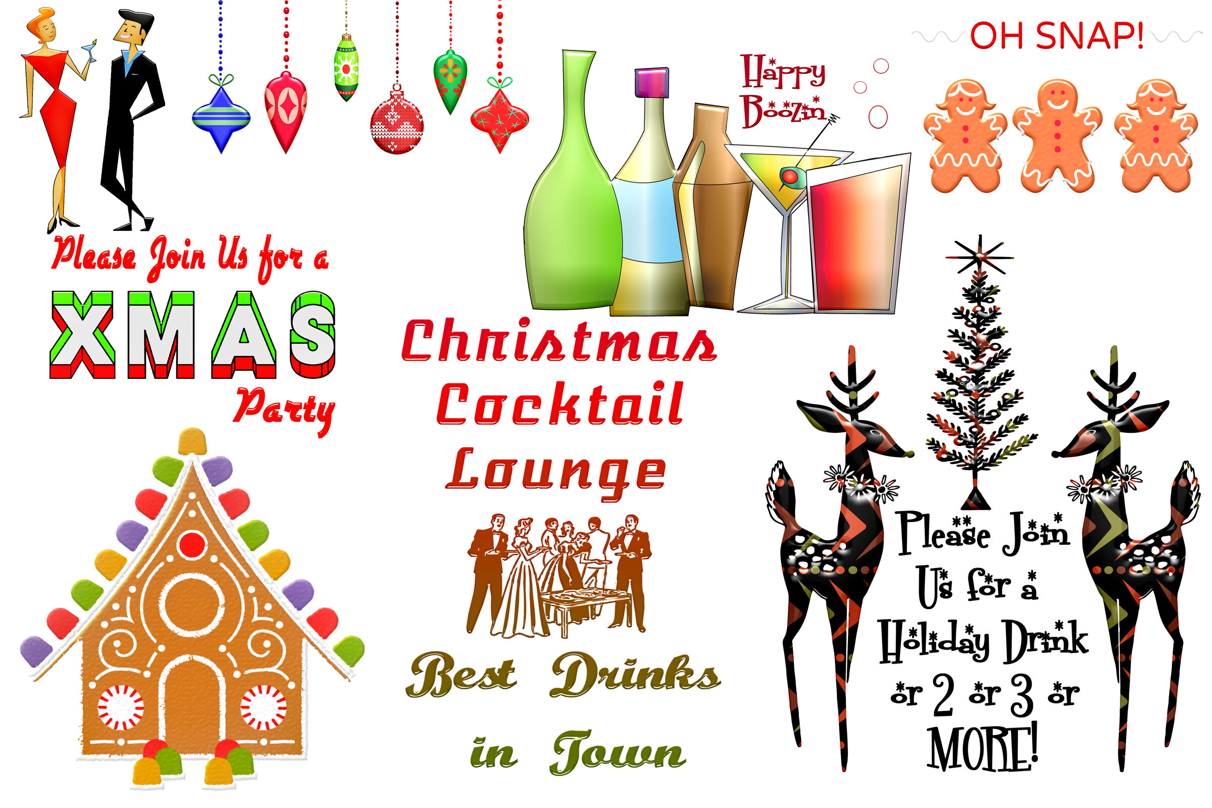 Christmas Retro Holiday Party Clip Art By Me And Amelie